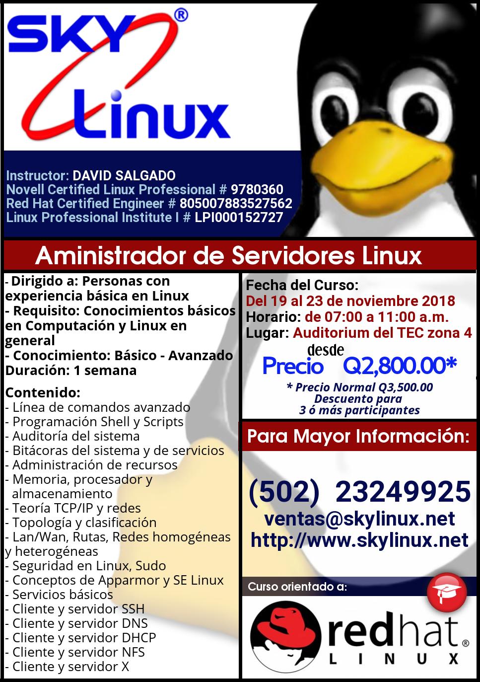 Administrador de Servidores Linux, noviembre 2018